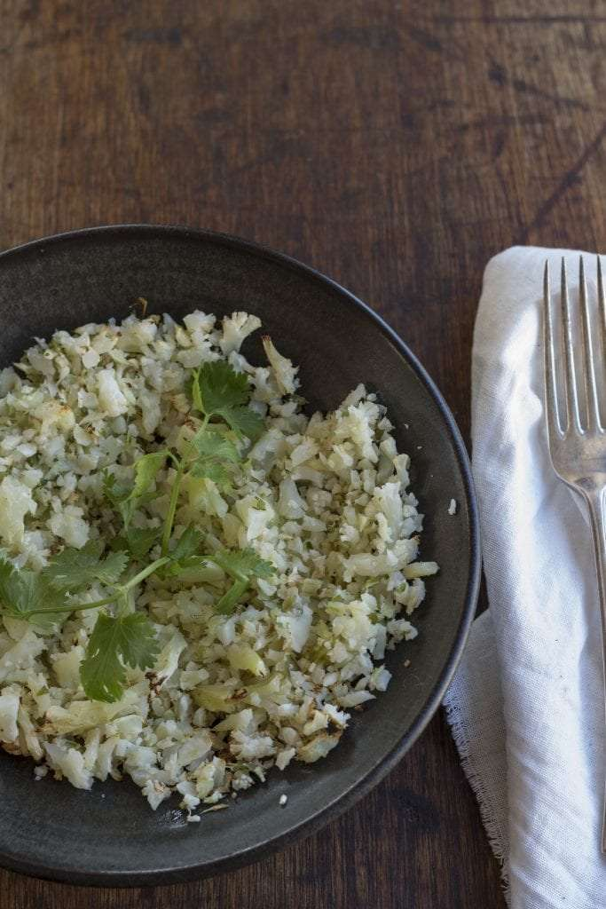 Cauliflower rice in bowl