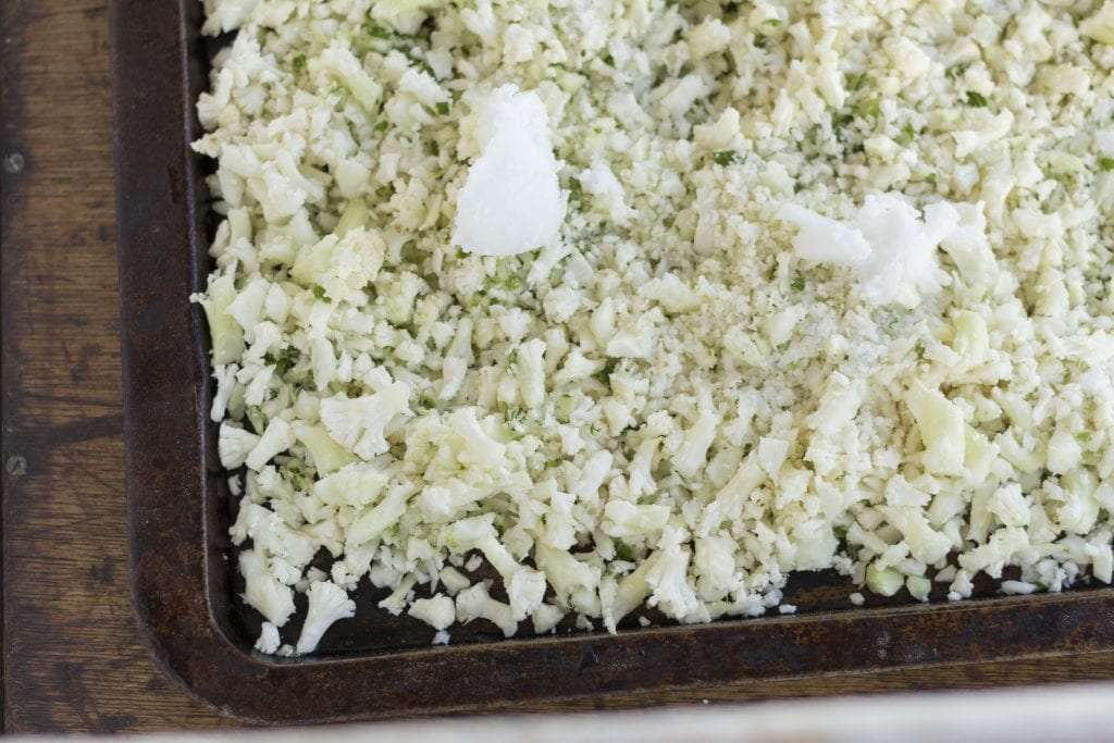 Cauliflower rice on tray