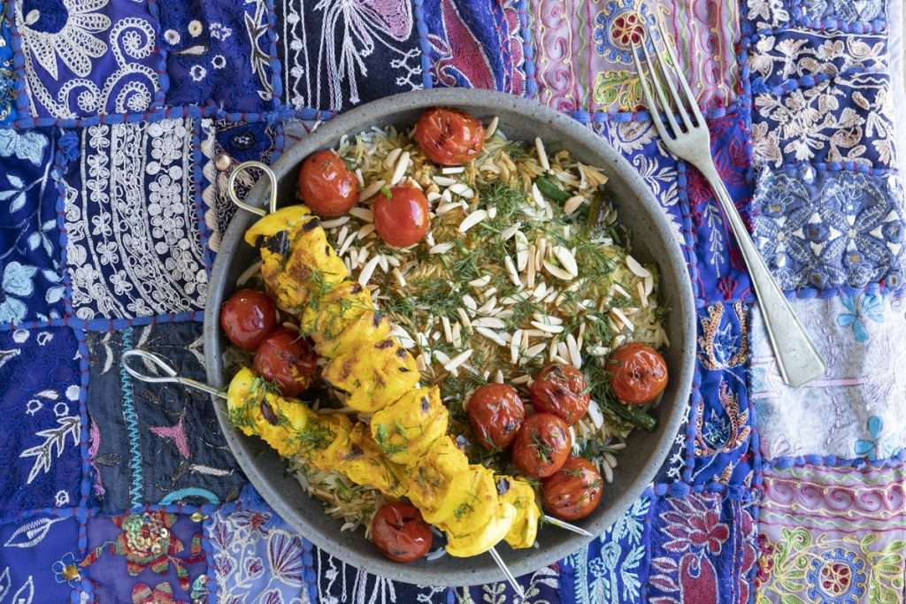 Arwen's Thermo Pics | Hobart Thermomix Consultant - Turmeric Chicken Kebabs with Dill Pilaf