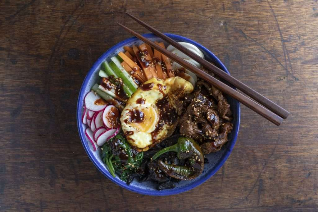 Arwen's Thermo Pics | Hobart Thermomix Consultant - Stir Fried Beef with Rice Bulgogi Sauce & Fresh Vegetables