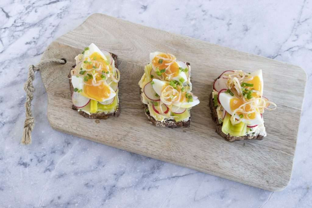 Arwen's Thermo Pics | Hobart Thermomix Consultant - Leek & Egg Open Sandwich with Radish & Chive Butter