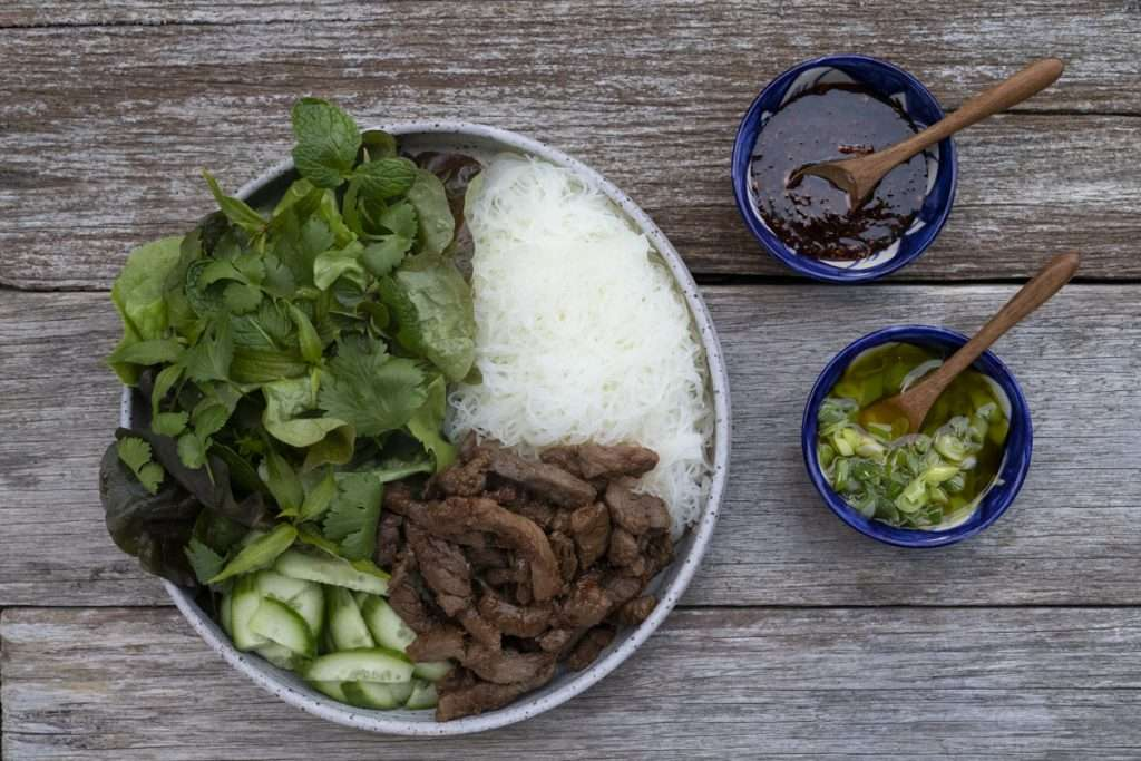 Arwen's Thermo Pics | Hobart Thermomix Consultant - Beef Banh Hoi with Chilli Jam & Herb Salad