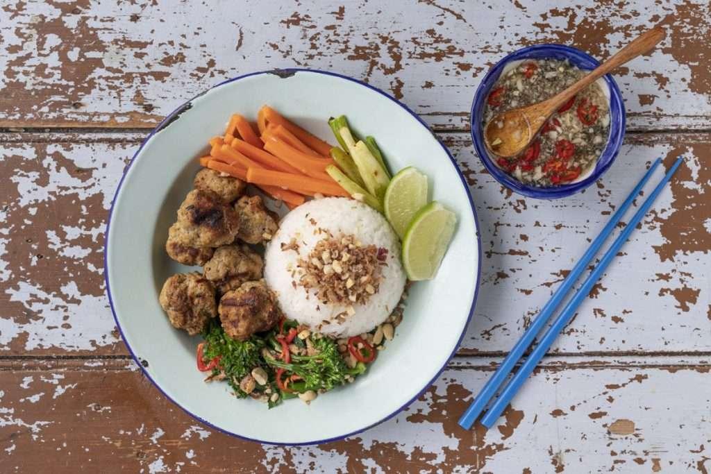 Arwen's Thermo Pics | Hobart Thermomix Consultant - Pork Meatballs with Rice, Broccolini, Chilli & Peanut Salad
