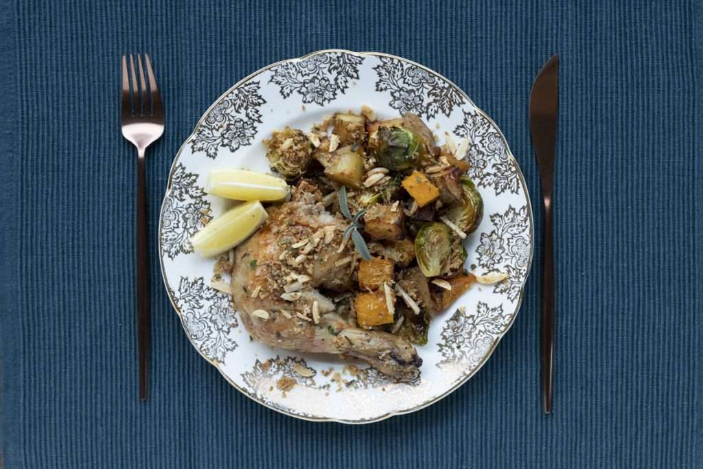 Arwen's Thermo Pics | Hobart Thermomix Consultant - English Roast Chicken with Roast Vegetables & Sage Breadcrumbs