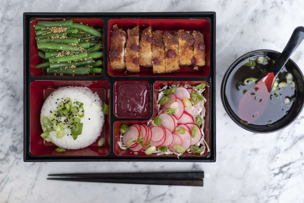 Arwen's Thermo Pics | Hobart Thermomix Consultant - Pork Katsu Bento Box with Sesame Beans Rice & Pickled Radishes
