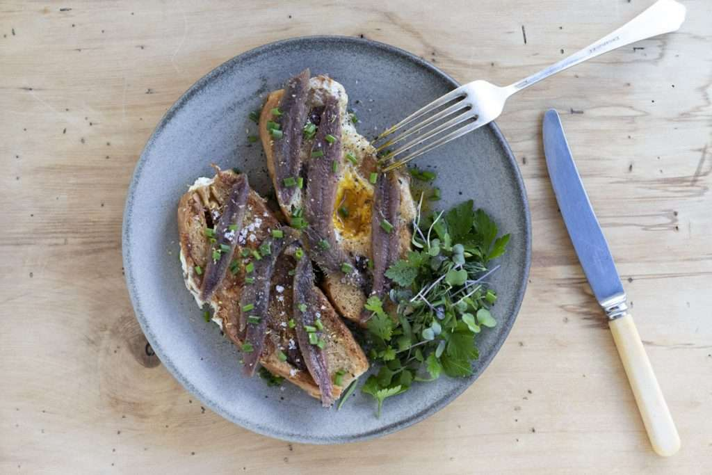 Arwen's Thermo Pics | Hobart Thermomix Consultant - Egg & Anchovy Toast with Herb Salad