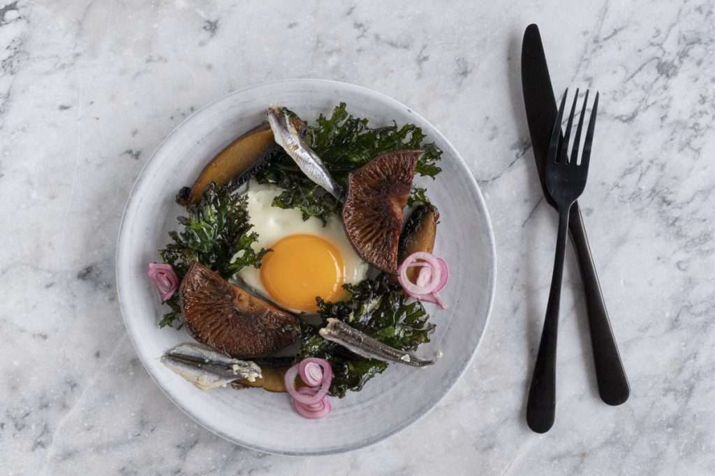 Arwen's Thermo Pics | Hobart Thermomix Consultant - Lightly Fried Egg with Mushrooms, White Anchovies & Crispy Kale