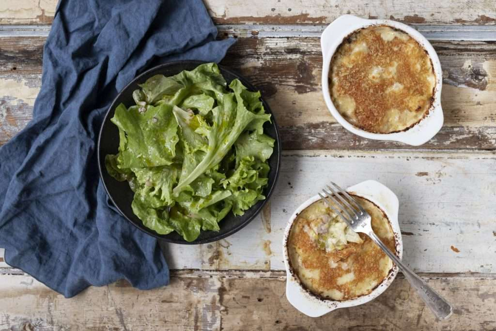 Arwen's Thermo Pics | Hobart Thermomix Consultant - Cauliflower, Bacon & Leek Gratin with Butter Lettuce Salad & Shallot Vinaigrette