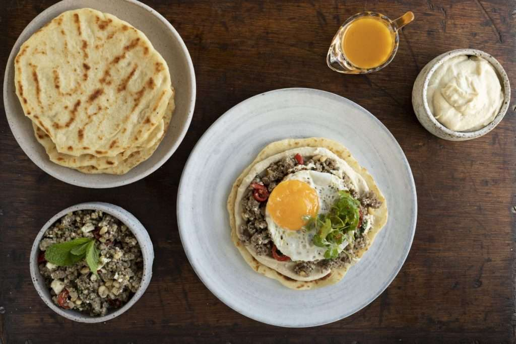 Arwen's Thermo Pics | Hobart Thermomix Consultant - Spiced Lamb Pizza with Fried Egg Hummus & Lemon