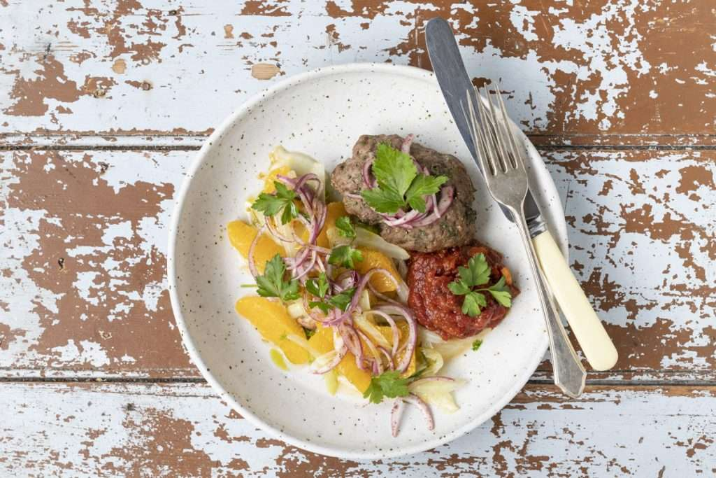 Arwen's Thermo Pics | Hobart Thermomix Consultant - Spiced Baked Lamb Kofte with Orange & Fennel Salad