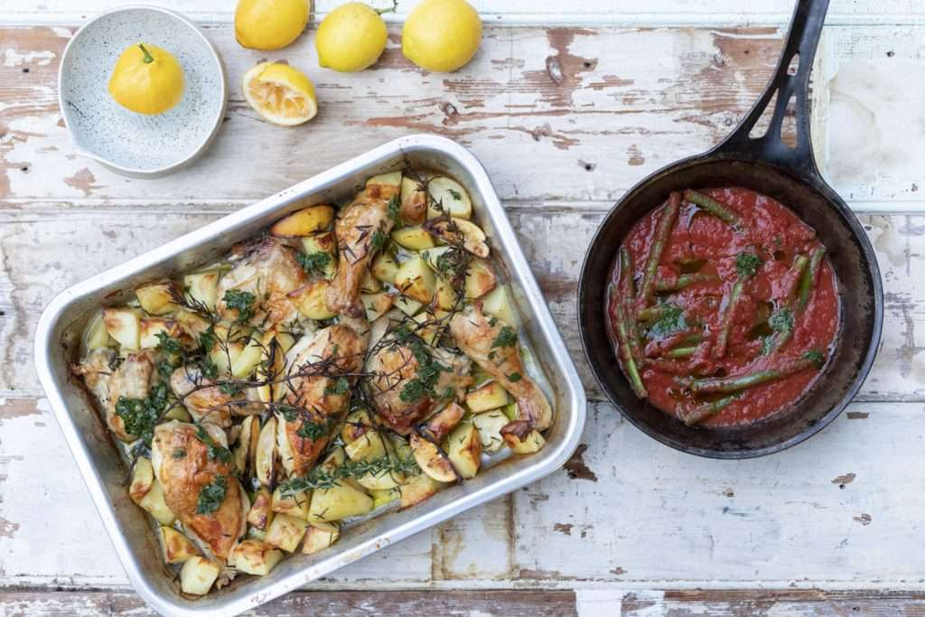 Arwen's Thermo Pics | Hobart Thermomix Consultant - Roast Chicken & Lemon Potatoes with Slow Cooked Beans & Parsley Dressing