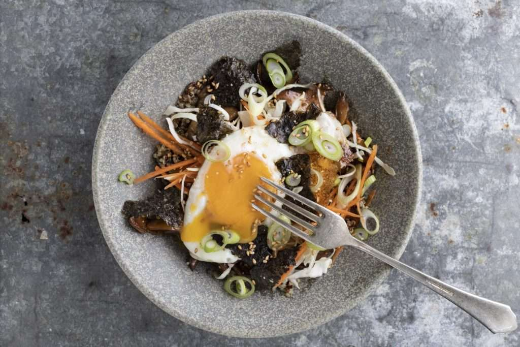 Arwen's Thermo Pics | Hobart Thermomix Consultant - Quinoa, Mushroom & Soy Bowl with Crispy Fried Egg
