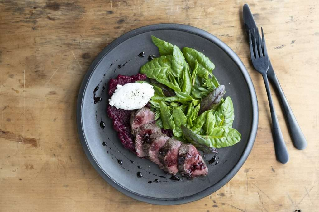 Arwen's Thermo Pics | Hobart Thermomix Consultant - Doo Town Wallaby with Beetroot Puree, Goats Cheese & Spiced Balsamic Reduction